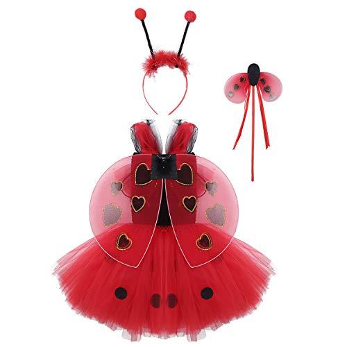 Freebily Baby Mädchen Polka Dots Tutu Kleid mit Haarreif Zauberstab Flügeln Kinder Halloween Partykleid Anime Cosplay Kostüm Rot 110-116/5-6Jahre (Kleinkind Und Kind Marienkäfer Kostüm)