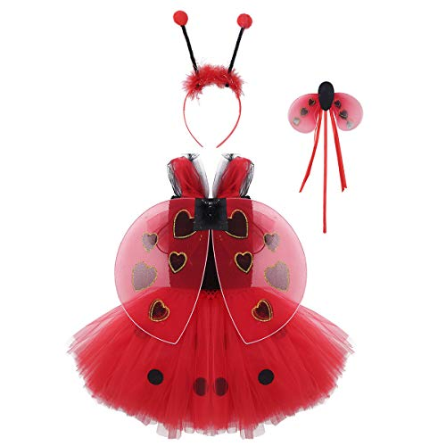 Kind Kostüm Marienkäfer Tutu - Freebily Baby Mädchen Polka Dots Tutu Kleid mit Haarreif Zauberstab Flügeln Kinder Halloween Partykleid Anime Cosplay Kostüm Rot 86-92/18-24 Monate
