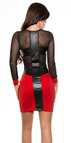 Mini robe Sexy à manches longues en maille et en cuir. Rouge - Rouge