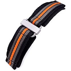 22mm MiLTAT Black, Khaki & Orange Stripes 3-D Nylon Velcro Watch Strap, Sandblasted Buckle