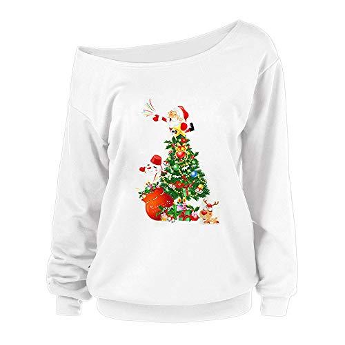 OverDose Damen Frohe Weihnachten Frauen Weihnachtsmann Drucken Tägliche Party Active Langarm-Überraschung Sweatshirt Pullover Tops Bluse Shirt Outwear
