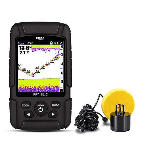 LUCKY Fisch Finder 7,1 cm Farbe LCD Tragbarer Fisch-Finder 200 KHZ/83khz Dual Sonar Frequenz 328 ft Erkennung Tiefe Finder Frequenz-sonar-fishfinder