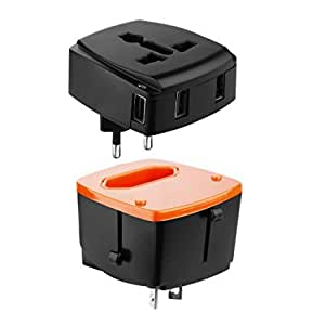 Urbo International Adapter with Detachable Design and 4 USB Ports + Retractable Prongs for Power Sockets in more than 100 Countries across Europe, Asia, Americas, Africa, Oceania (Black)