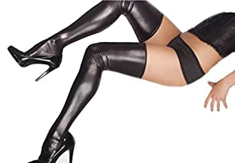 Sexy pvc noir bas, les jambes en vinyle web regard portez une taille élastiquée (36-42)