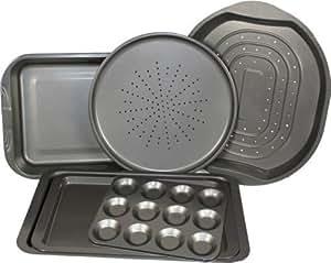 6 Piece Prochef Baking Oven Pizza Tray Crisper Roasting Tin 12 Cup Bun Sheet Set