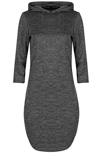 Be Jealous Damen 3/4 Sleeve Hooded Kapuzenpulli Marl Knit gebogenen Saum Schlabber Frauen Midi Shirt Kleid (Saum Gebogenen)