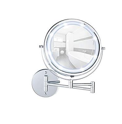 WENKO 3656530100 Power-Loc LED Wandspiegel Lumi - Befestigen ohne bohren, Spiegelfläche ø 17.5cm, 500% Vergrößerung, Stahl, 25.5 x 32 x 4-35 cm, Chrom von Wenko bei Spiegel Online Shop