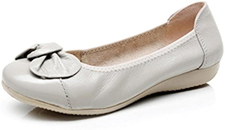 Frühling Herbst Echtem Leder Schuhe Frau Wohnungen Arbeiten Classi Fashion Bowknot Weißliche Casual Ballett Damenö