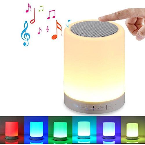 WIMI Illuminant Sound Tragbarer Bluetooth Lautsprecher mit LED Beleuchtung, Nachttischlampe mit 6 Lichtoptionen, Touch-Sensor, SD-Karten-Slot, Weiß (Slot Sensor)