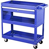 GBX Camiones de mano portátiles multifunción Vehículos de reciclaje, carro de herramientas Carro de 3 niveles Organizador ensamblado multifunción Espesar carro, Rodamiento 200Kg, 700X350X760Mm,Azul