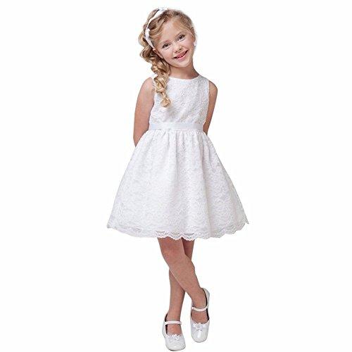 iiniim Mädchen Kleid Prinzessin Kleid Spitze Blumenmädchenkleid Festlich Hochzeit Brautjungfern Festzug Party Kleid Gr.80-140 Weiß 92/2 Jahre -