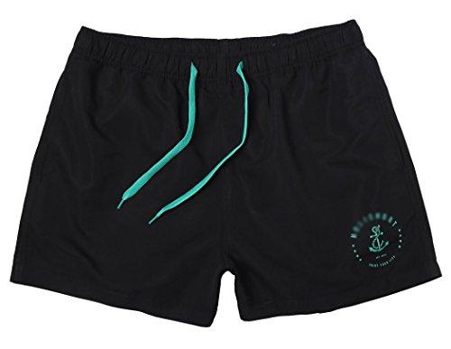 WUAMBO Herren Badeshorts Beachshorts Boardshorts Badehose,Watershorts Solid Leisure Black