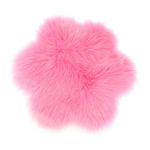 Baoblaze Blume Form Shaggy Teppich Flauschige Matte Sitzkissen Bodenmatte Kinder Spielen Matte - Rosa (Teppich Rosa Shag Kinder)