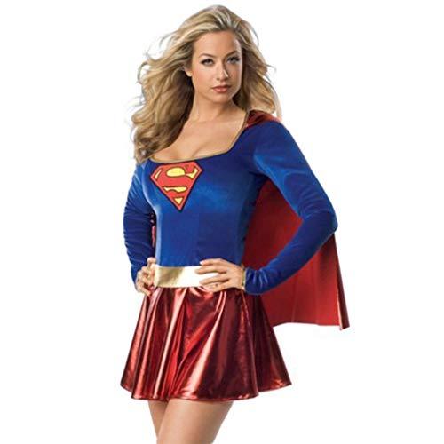 QWEASZER Damen Supergirl Kleid, Kostüm Erwachsene - Supergirl Damen Kostüm Superheld Damen Erwachsene Super Mädchen Kostüm Outfit Superfrau Kostüm,Blue-XL