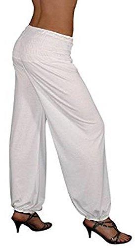 S&LU tolle Damen Haremshose, Pluderhose in 4 Größen von XXS bis XXXXXXL (6XL) wählbar Weiß Einheitsgröße XXS-M