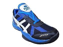 Port Womens Coral Red Blue PVC Badminton Shoes