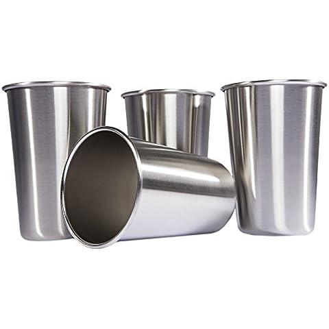 LOVIT Scientific vasos de acero inoxidable (16-Ounce)–4Vasos de Pinta–Gran Multipurpose Vaso para cerveza, de camping y
