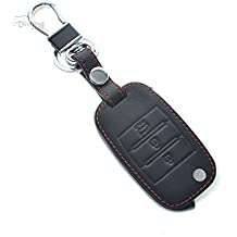 AUTOMAN coche funda de piel smart Remote Key para Kia (Doblar Negro 1)
