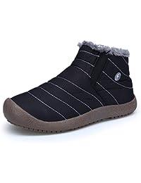 DAFENP Hombre Botines Zapatos Botas de Nieve Invierno Fur Calentar Botas Al Aire Libre Boots
