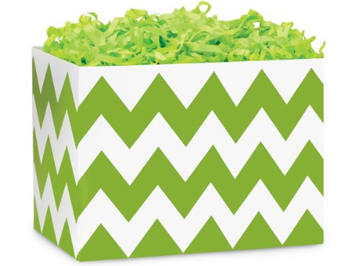 (Large Chevron Stripe Apple Greenbasket Boxes 10-1/4 inch X 6 inch X 7-1/2 inch 6 pack)