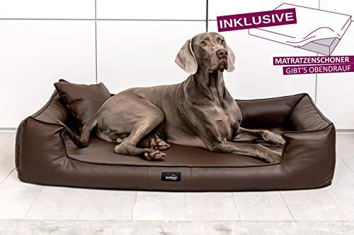 tierlando® G5-L-01 Orthopädisches Hundebett Goofy VISCO | ~ inkl. Matratzenschoner ~ | Anti-Haar Kunstleder Hundesofa Hundekorb Gr. XL 120cm Braun Ortho