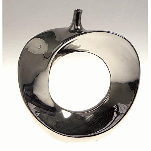 Designer-Vase Apple 26 cm Keramik verchromt