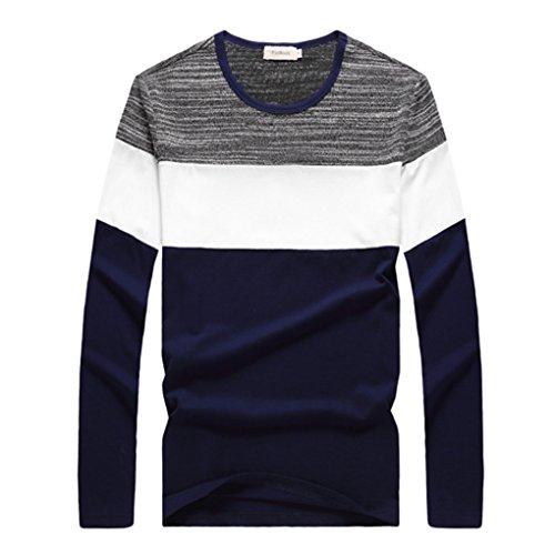 QHGstore Mens Ragazzi casuale Maglie a manica lunga in cotone T Camicie M-XXXL blu reale L