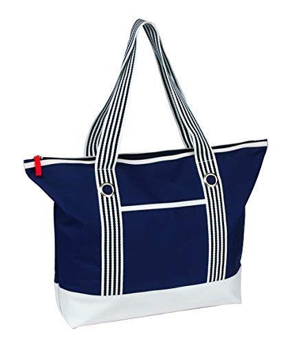 Sac de plage / Weekend / shopping tendance Bleu / blanc marine.