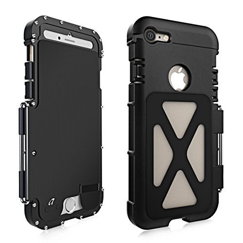 Alienwork Metal Gear Custodia per iPhone 7 antiurto Cover Case Bumper Supporto Acciaio inossidabile nero AP706-01