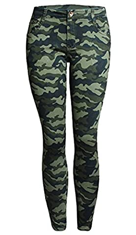 Women's Camo Army Green Skinny Jeans Camouflage Cropped Plus Size Pencil Calabres,5XL