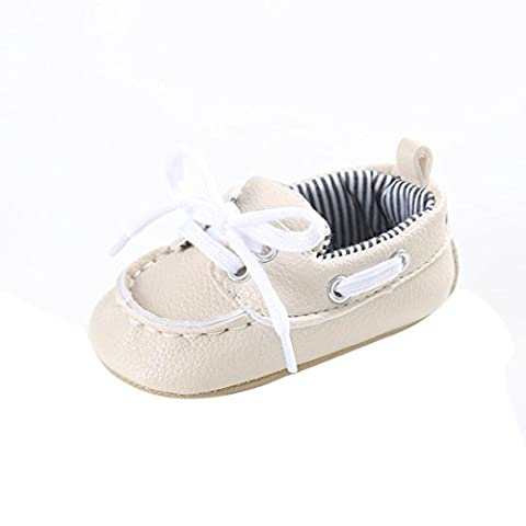 Saingace 1 Pair Baby Girl Boy Lace-up Shoes PU Leather Anti-slip Soft Sole Toddler Flat First Walking Shoes (Age:0~6 Month, Beige)