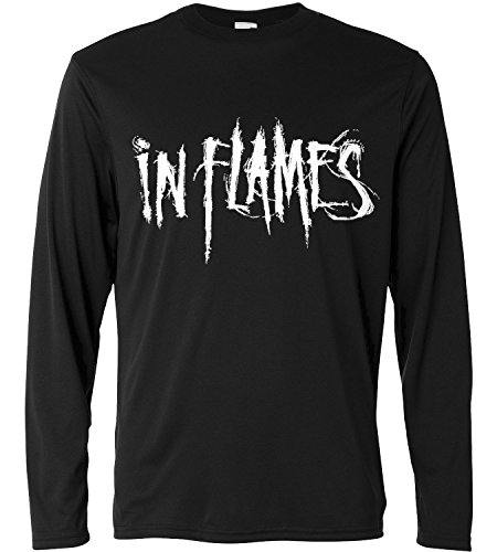 T-shirt a manica lunga Uomo - In Flames - Long Sleeve 100% cotone LaMAGLIERIA, M, Nero