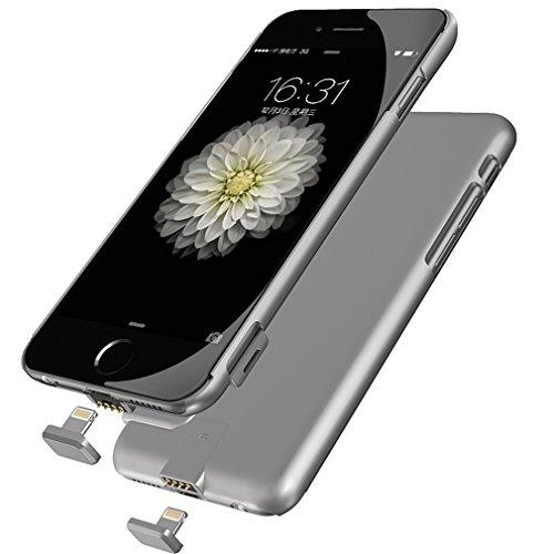 Funda Batería Extra Ultra Delgada 2000Mah para iPhone 6 Plus/6S Plus 5,5 Pulgadas Cargador Batería External Recargable Carcasa Protectora de Navline-Gris