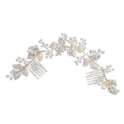InvocBL Elegante Hochzeit Blätter Kunstperlen Kette Blume Weinrebe Stirnband Brautschmuck Haarkamm Kopfschmuck - goldfarben