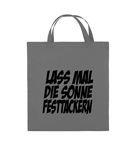 Comedy Bags - LASS MAL DIE SONNE FESTTACKERN - Jutebeutel - kurze Henkel - 38x42cm - Farbe: Schwarz / Pink Dunkelgrau / Schwarz