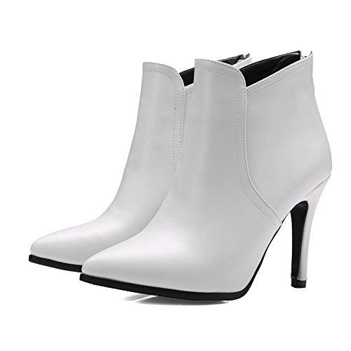 Stylet Femme Zip Cheville Pointu Unie De Bottes VogueZone009 Blanc Couleur Fwaq00B
