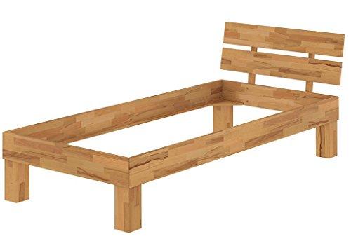 Erst-Holz® Massivholzbett Buche Natur Einzelbett 100x200 Bettgestell ohne Zubehör 60.86-10 oR