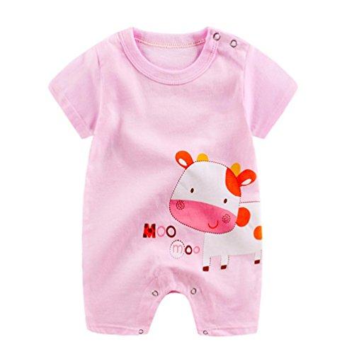 Kostüm Säuglings Kuh - Amlaiworld Baby Baumwolle niedlich Tiere drucken Bodys Sommer Pinguin Kühe Giraffe Spieler Mode Sport säugling Overall Kleidung, 0-24Monate (18 Monate, Rosa)