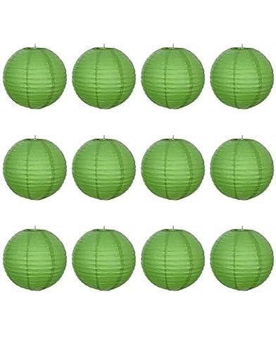 12 x 8 cm Vert Lanterne en Papier ronde avec nervures en fil de fer-Lot de 10