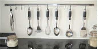 Barre murale support de rangement en inox pour ustensiles - Barre ustensiles cuisine inox ...