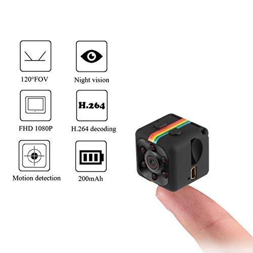 Mini Hidden Spy Video Recorder, Mini Spy Camera, HD Secret Video Recorder with Night Vision, Built-in Microphone and Motion Detection, Micro Covert Security Camera-Black -