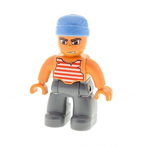 1 x Lego Duplo Figur Pirat grau Seemann rot weiß gestreiftes Hemd 47394 A31