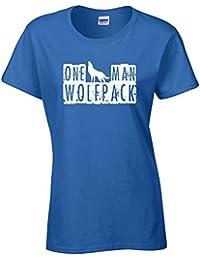 One Man Wolfpack Ladies Hoodie - Navy - Large