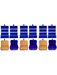 Afrose Combo 6 Pc Blue Earring Folder 3 Pc Ring Box And 3 Pc Blue Ear Ring Box Jewelry Vanity Box