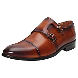 BRUNE Tan Color Hand Finished Genuine Leather Double Monk Strap Shoes For Men size-9