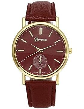 Vovotrade®New Unisex Leder-Band-analoge Quarz-Armbanduhr Uhren Vogue