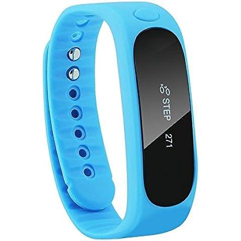 vear E02Bluetooth Smart bracciale orologio da polso Smartwatch Bluetooth per Android, Blue, Taglia