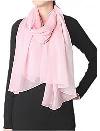94bcba616498 Prettystern - uni- tinta unita semplice scialle in seta pura Sciarpa Stole  - 30 colori