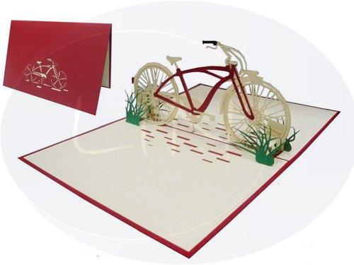 Lin - pop up 3d biglietto d'auguri, bicicletta rétro, (#155)