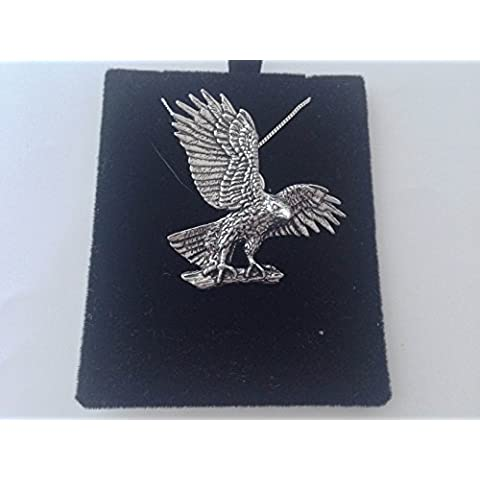 B37Hawk/eagle Ciondolo in vero argento Sterling 925collana a mano 26pollici catena prideindetails con confezione (Mens Sterling Silver Eagle)